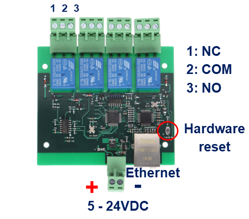 Bem105 Lan Internet 4 Channel Relay Board 5 24v Supply Bem105